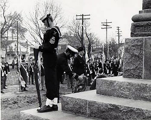 Kirk pulling Cenotaph duty Remembrance Day circa early 70s as Petty Officer of the Colour Party and Guard RCSCC Quinte