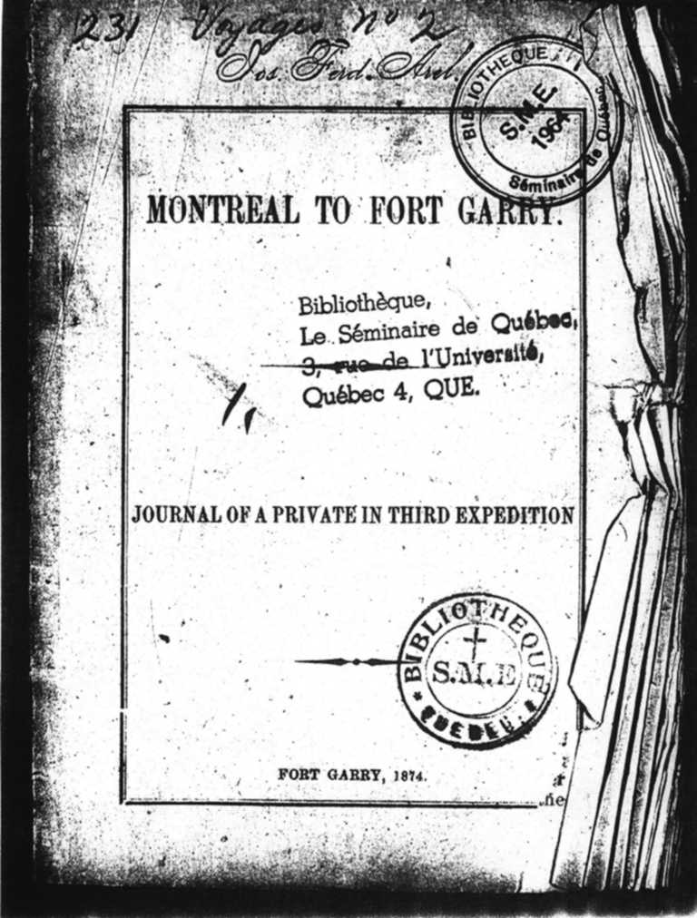 Montreal to Fort Garry by Thomas Graham Morry